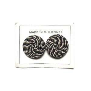 Jewelry - Handmade knit black cream spiral round earrings